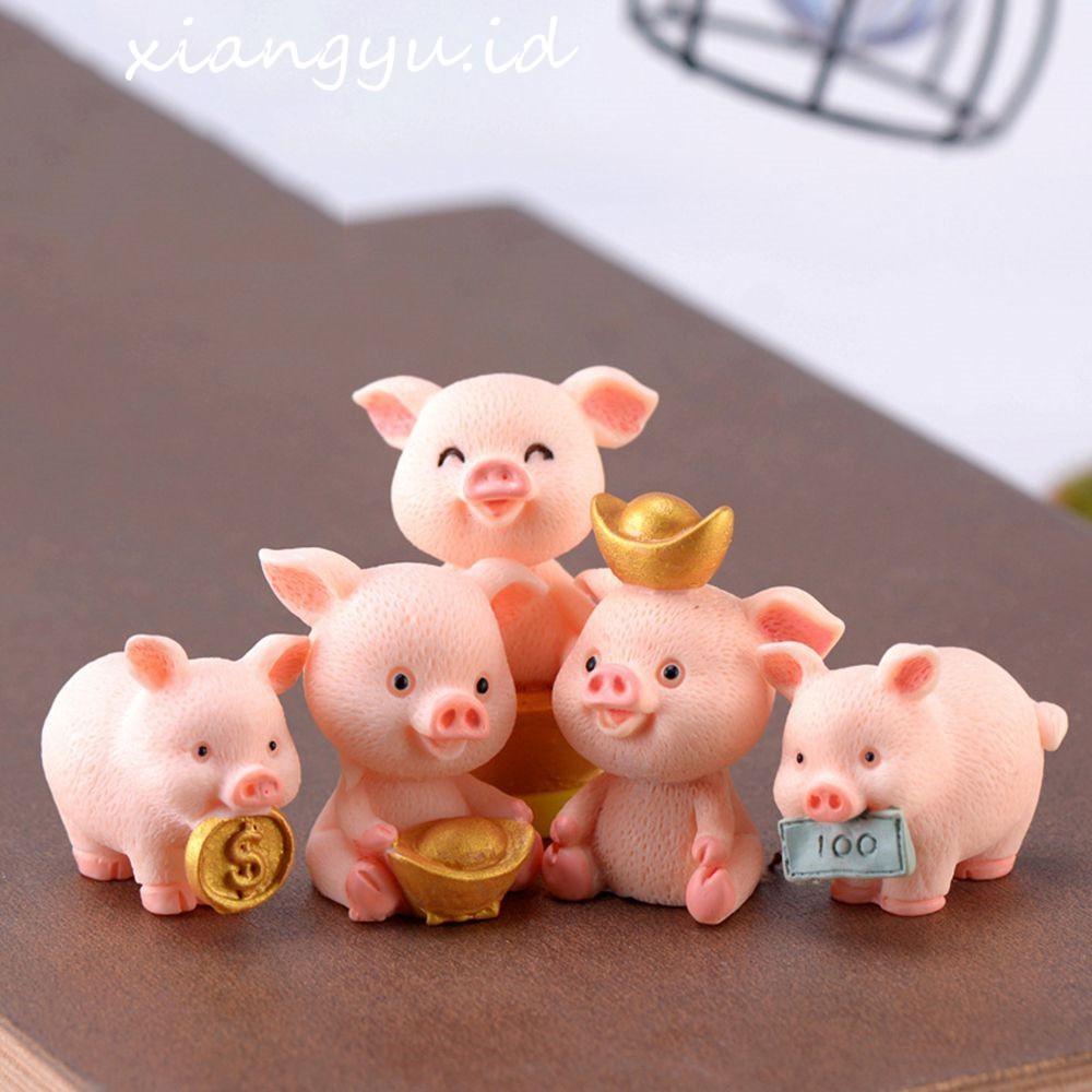 Miniatur Figure Hewan Babi Bahan Resin untuk Dekorasi Kue