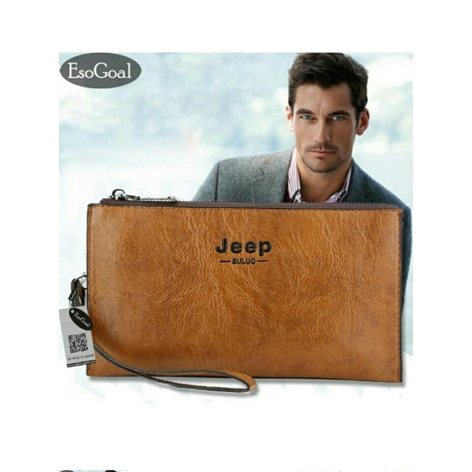 Unik Tas tangan Dompet pria impor JEEP BULUO banyak slot muat hp besar  Cokelat Muda Limited  98e206fc2b