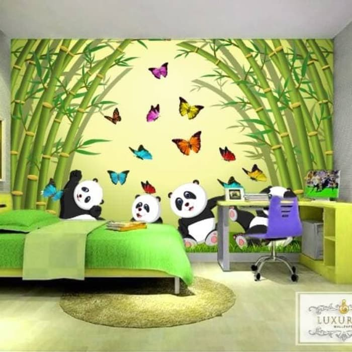 Wallpaper Custom Wallpaper 3d Wallpaper Dinding Wallpaper Anak Panda Shopee Indonesia