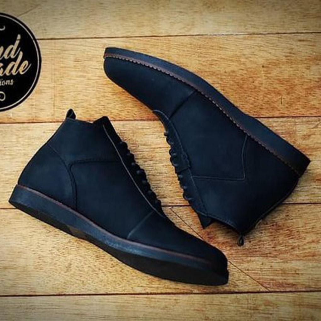 Sauqi Footwear Sepatu Pria Casual Sperry Amu Sepatu Boots Kulit Asli Pull  Up Keren Hitam dan Coklat  3b35b36cad