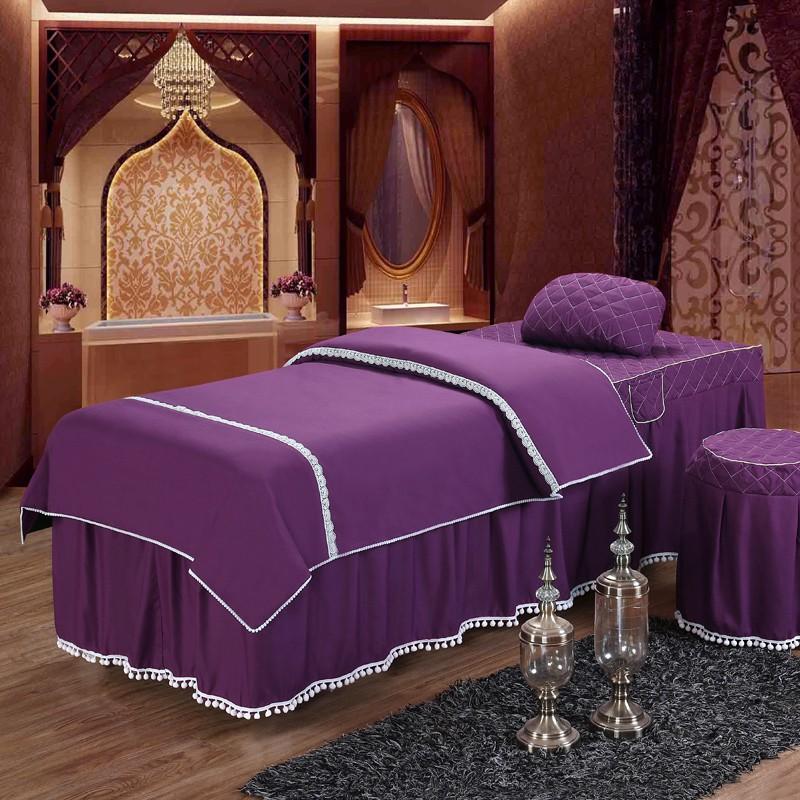 Beauty Bedspread Four Pieces Set Cotton European Simple Salon