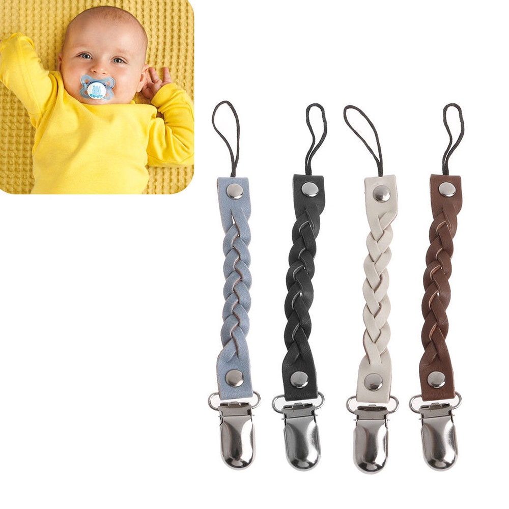 Baby Toddler Dummy Pacifier Leather Soother Nipple Clip Chain Holder Strap Hot