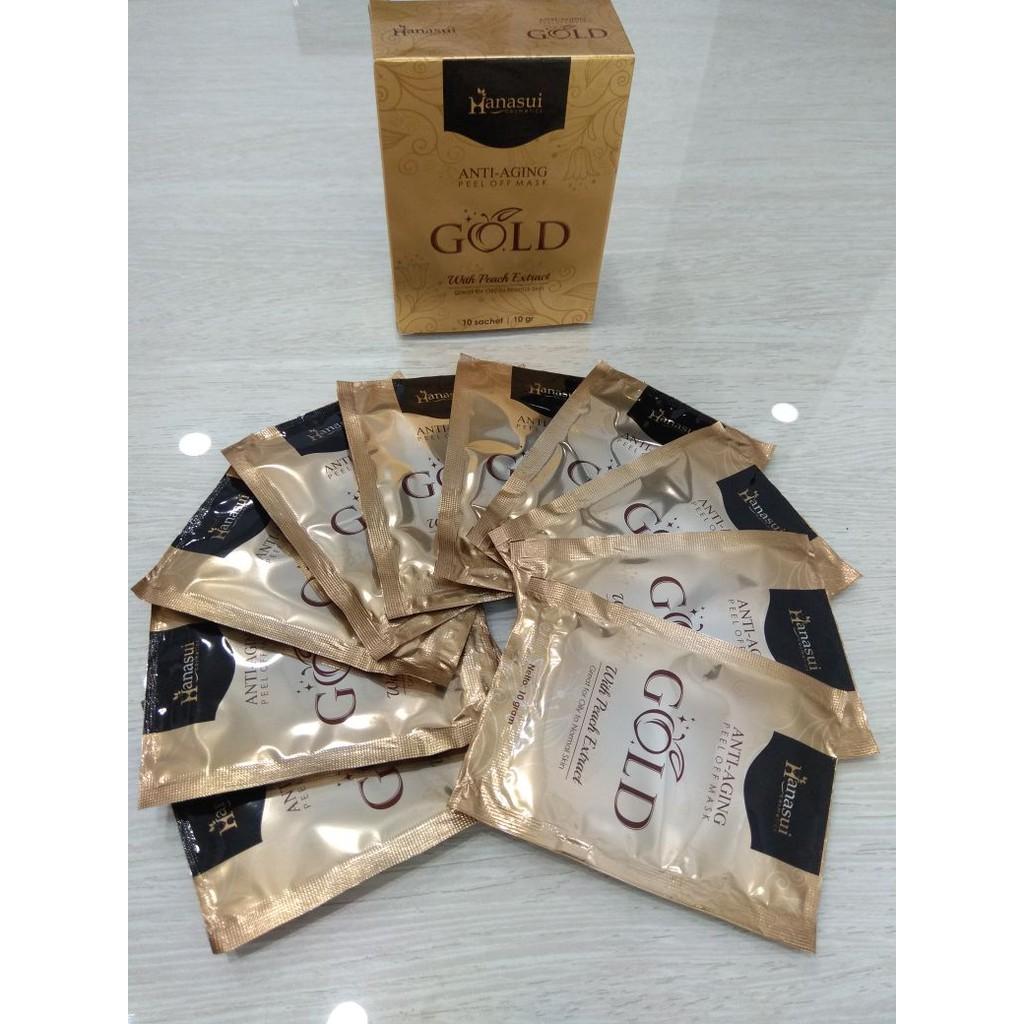 Hanasui Anti Aging Peel Off Mask Gold Isi 10 Pcs Daftar Harga Masker Emas With Peach Extract