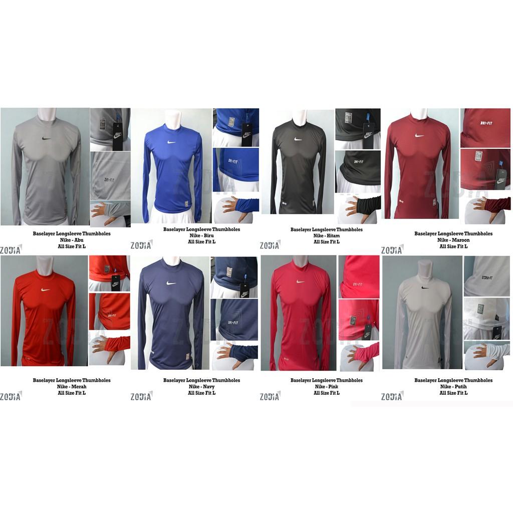 Kaos Tshirt Manset Baselayer Nike Gym Run Sepeda Tennis Fitness Combat Stretch Pro White Renang Dri Fit Shopee Indonesia