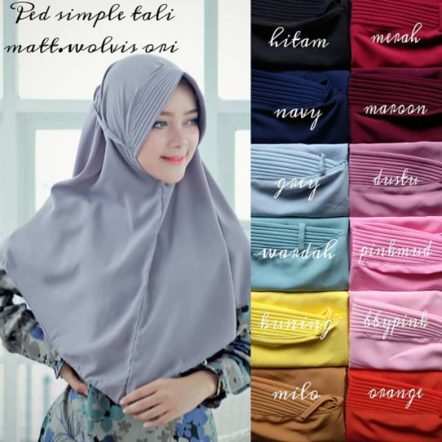 Khimar Pet Tali Belakang Simple Jilbab Midi Simpel Instan Wolfis Premium Bergo Maryam Pet Shopee Indonesia