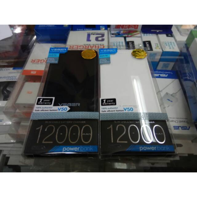 POWER BANK SLIM VEGER V50 12000mAh ORIGINAL REAL CAPACITY | Shopee Indonesia