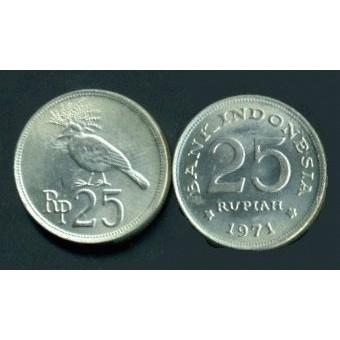 Original Uang kuno rp. 25 rupiah logam tahun 1971 koleksi mahar terpopuler