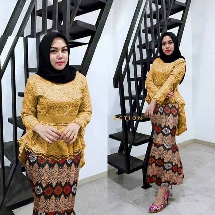 Promo Setelan Kebaya Modern Atasan Brukat Rok Batik Cantik Set Salsa Gold Se0004