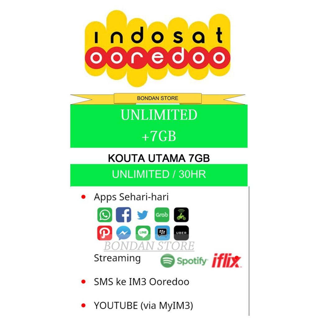PROMO PAKET DATA / KOUTA INDOSAT 7GB + UNLIMITED KOUTA APLIKASI SMS &  YOUTUBE VIA MY IM3
