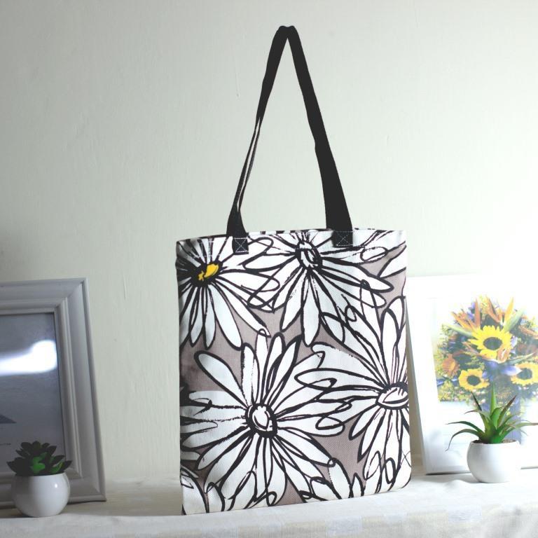 Riens Collections Totebag Bahan Kanvas Premium Motif Bunga Matahari Coklat Shopee Indonesia