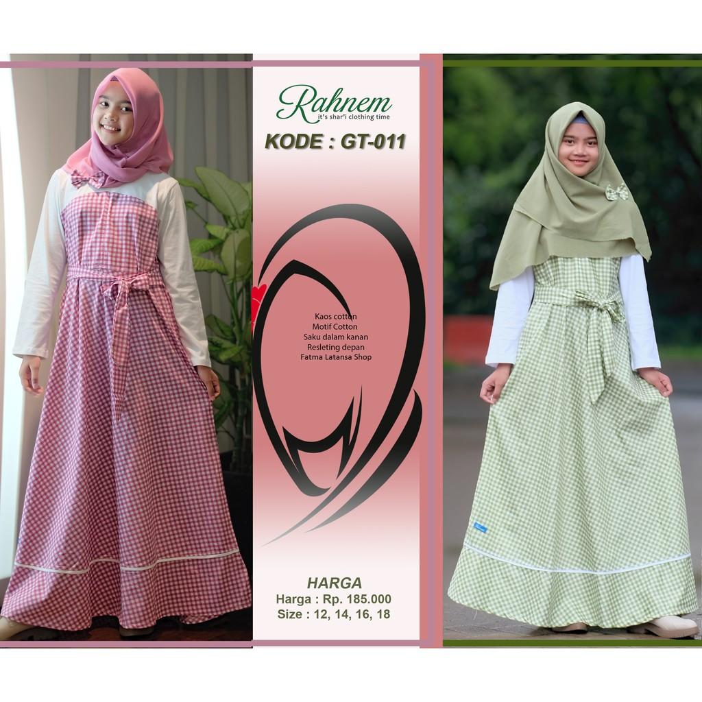 gamis remaja / rahnem gt 10 / pakaian anak tanggung / baju muslim