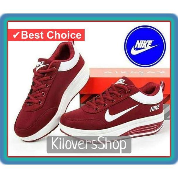 Siap Kirim ..! sepatu wanita kets wedges nike merah maroon - Maroon ... 96855ce0ee