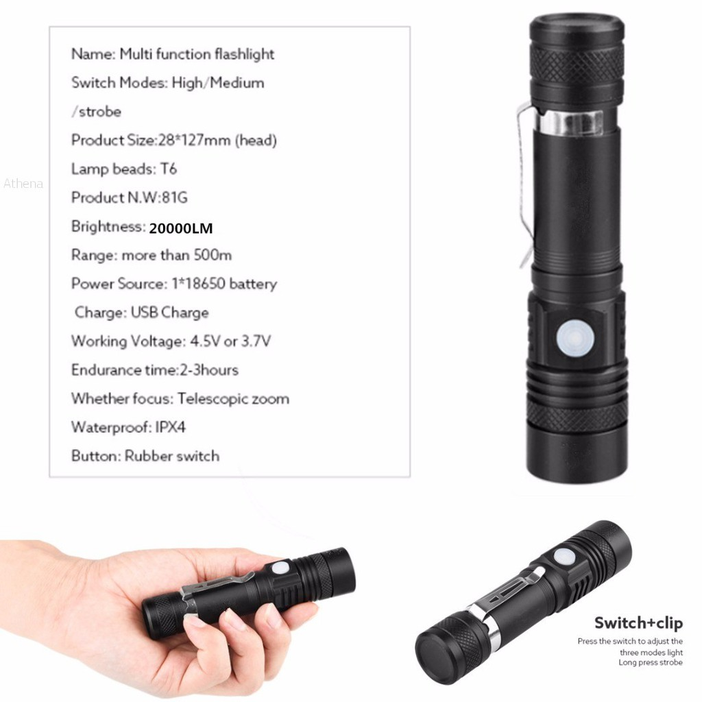 support vélo clip RP 3000lm X-M-L T6 LED Zoomable 18650 Torche