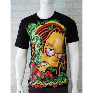 Vanwin - Kaos Distro Pria / Tshirt Cowok Simpson Rasta - Hitam