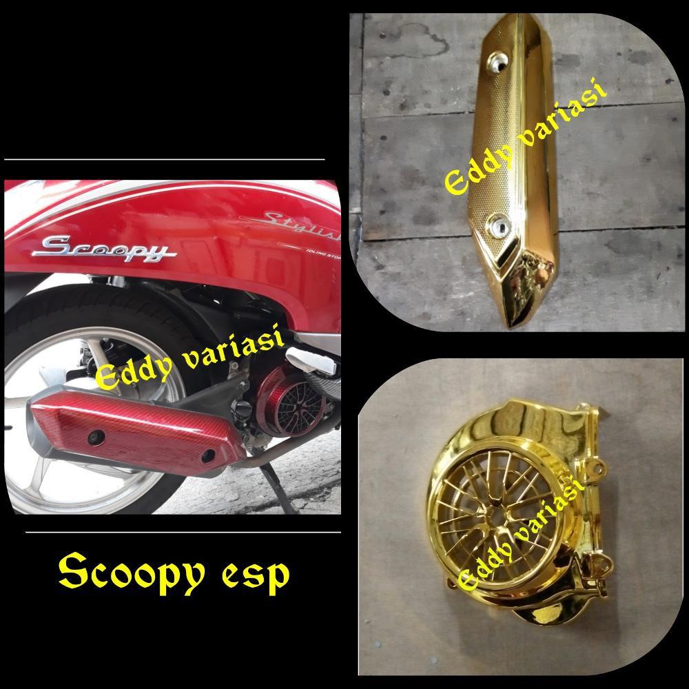 Gold Cover Tutup Radiator Pelindung Honda Vario 125 150 Iss Esp Knalpot Dan Led Plus Variasi Hawa Shopee