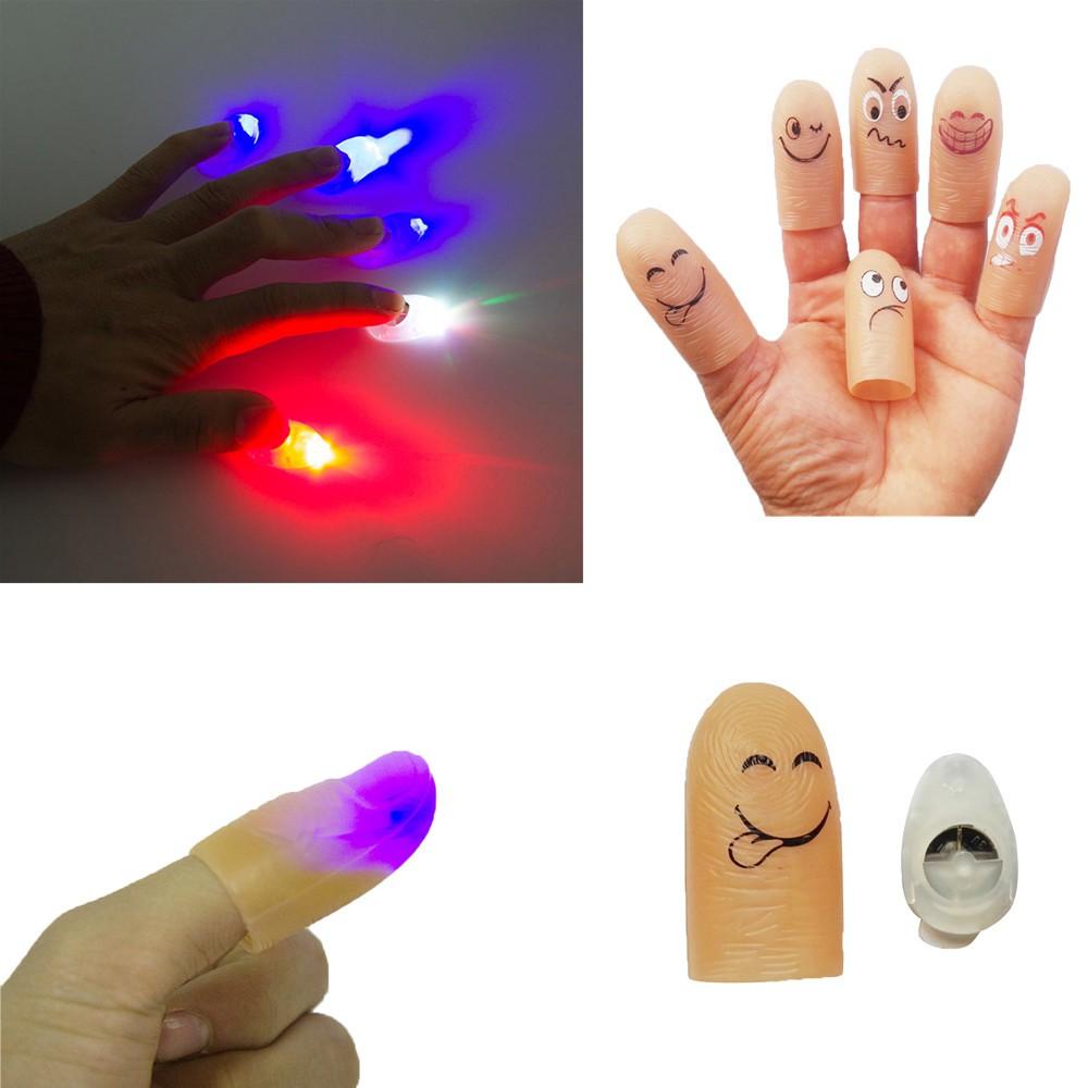 Sarung Jari Gambar Ekspresi Wajah Emoticon Lucu Dengan LED Menyala Untuk Mainan Anak