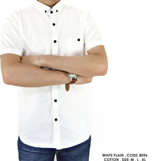 New Product Baju Kemeja Polos Polosan Putih Formal Kerja Kantor Cowok Pria - Putih, M