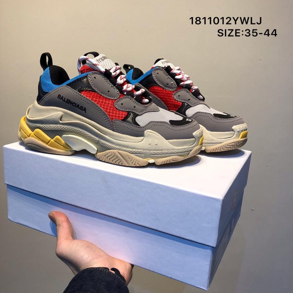 Original Sepatu Kasual Pria Dan Wanita Balenciaga Triple S