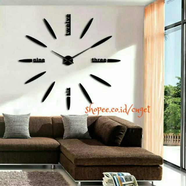 Stiker 3D Gambar Jam Dinding Quartz untuk Ruang Tamu Kamar Tidur ... 490e36b1a2