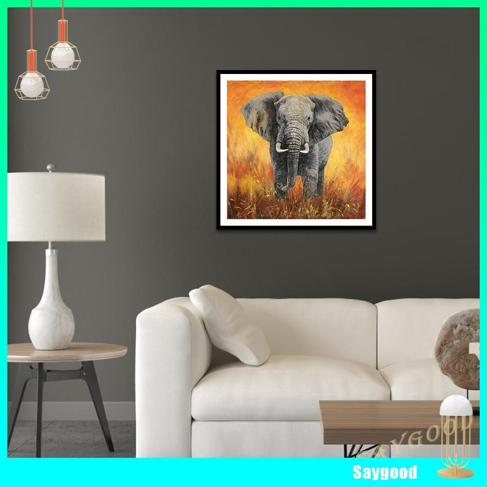 DIY Lukisan Diamond 5D Dengan Gambar Mozaik Gajah Untuk Hiasan Dekorasi Rumah