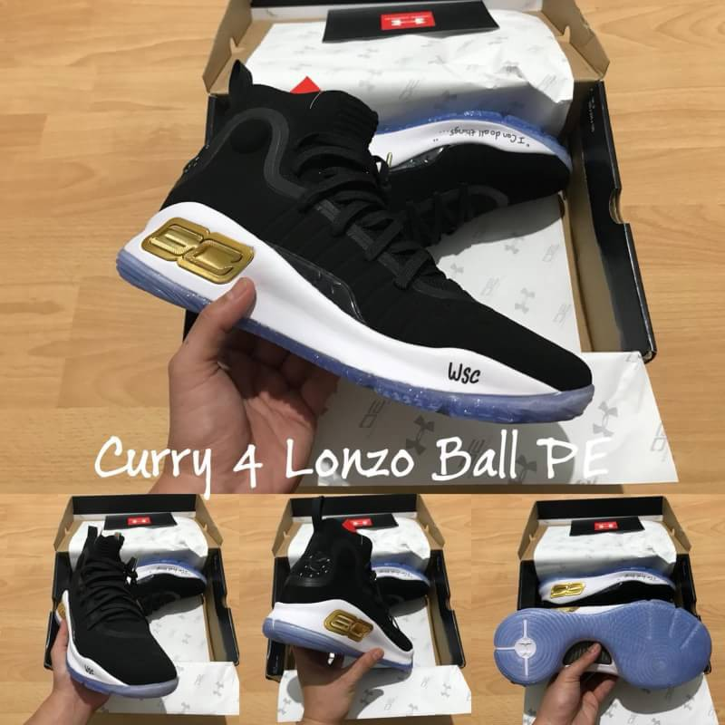 sepatu basket under armour curry 4 black white gold lonzo ball ... 737246c03c
