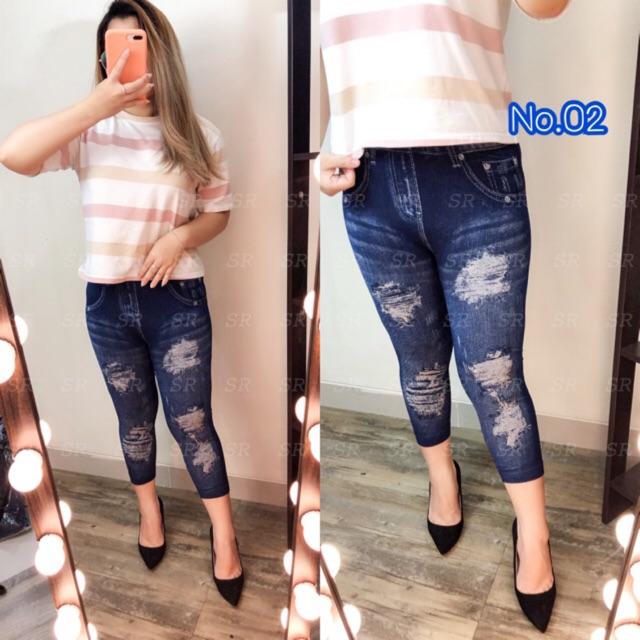 New Stock 7 8 Celana Legging Jeans Import Wanita Terbaru Motif Ripped Shopee Indonesia