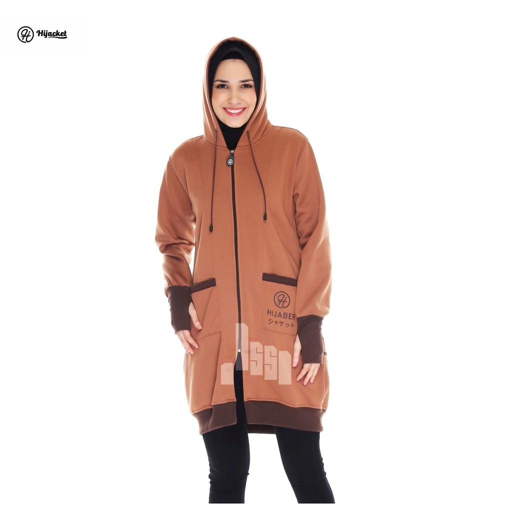 (XL) Jaket Hijab Hijaber Keren Hijacket Vendulum Elowen Coco - Coklat X  Kuning Simple Premium Fleece  98504a6e94