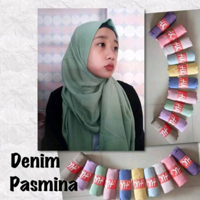 Pashmina Bahan Denim Shopee Indonesia