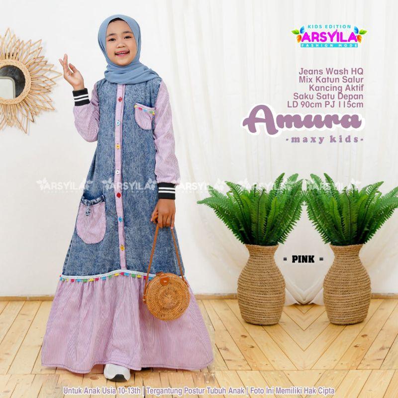 Amura Maxy Kids Jeans Wash Halus Dress Anak usia 10 11 12 13 tahun Busana Muslim Anak by Arsyila
