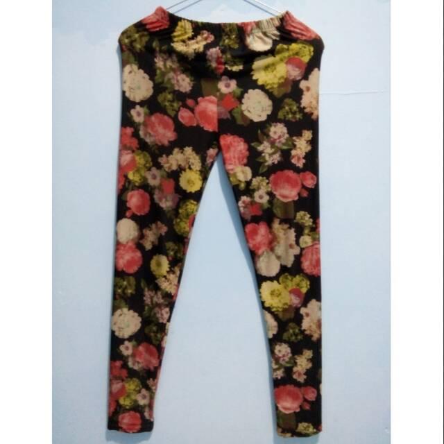 Celana Panjang Legging Motif Bunga Preloved Shopee Indonesia
