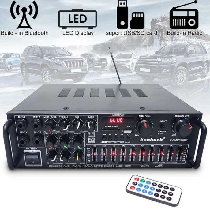 Sunbuck Bluetooth EQ Audio Amplifier KaraokeHomeTheater 2000W AV-326BT