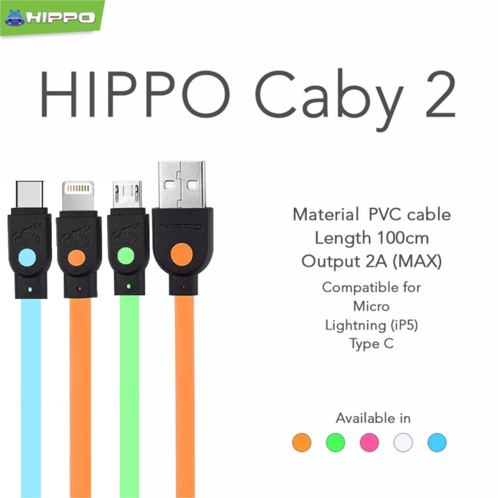 Hippo Caby2 Usb Type C Data Dan Charger Daftar Harga Terkini Caby 2 Micro 100cm Toples 50pc Bagus Kabel Kuat Tahan High Quality Chargeran Cable