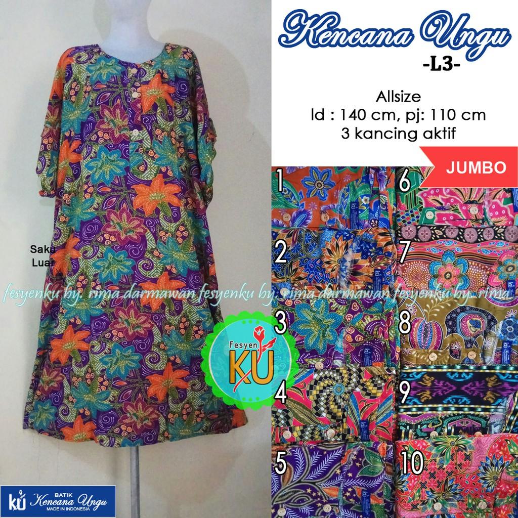 Daster batik kencana ungu label biru L3 jumbo  19fe9901db