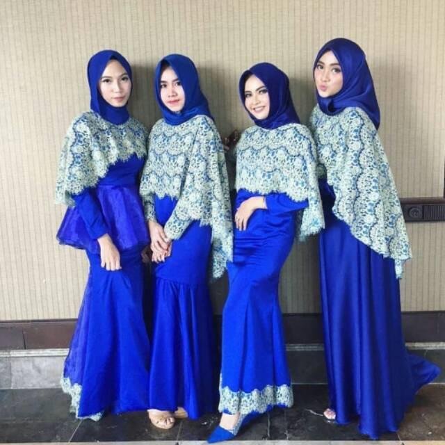 Gaun Pesta Muslim Brokat Long Dress Brokat Gaun Couple Kebaya Muslim