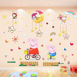 Cartoon Wall Stickers Boys And Girls Bedroom Stickers Metope Adornment Kindergarten Children Room Paper Adhesive Shopee Indonesia