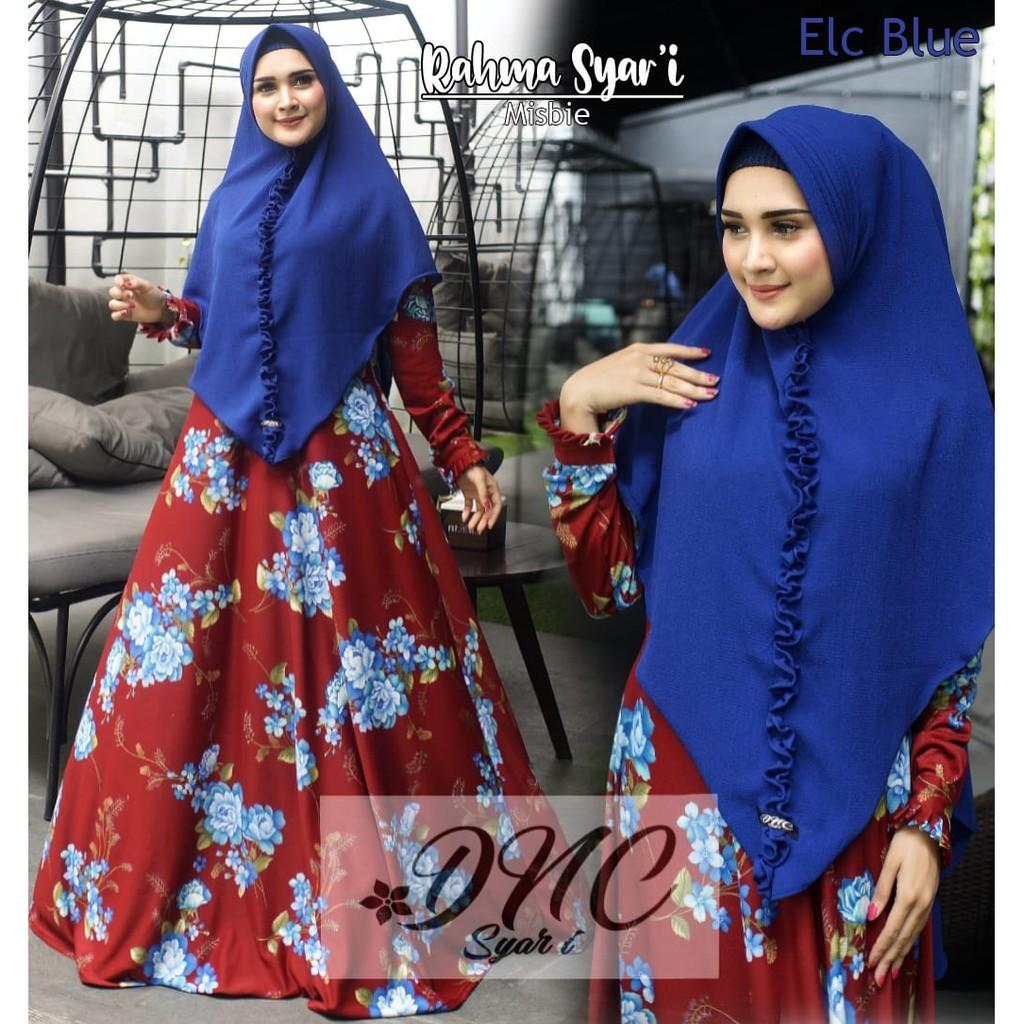Baju Gamis syari motif bunga terbaru murah adem melar set hijab