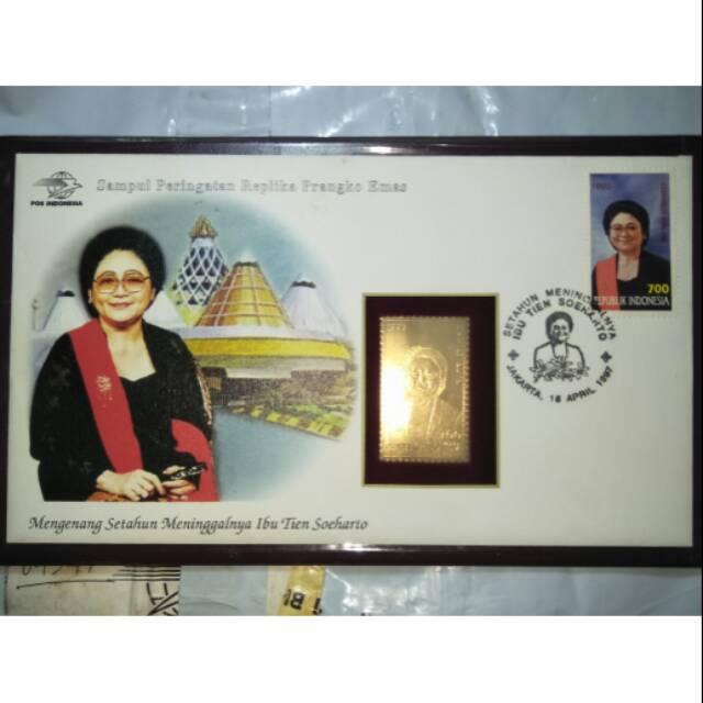 Perangko Emas 23 Karat Bu Tien Suharto Langka