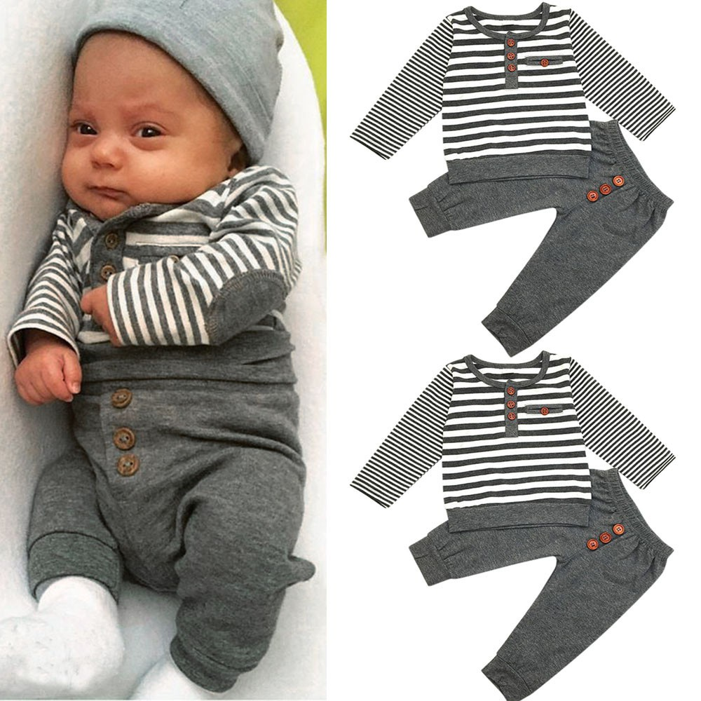 Baru Lahir Bayi Laki Laki Lengan Panjang Atasan Stripe Celana Pakaian Bayi Set Pakaian Shopee Indonesia