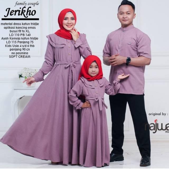 48 Model Baju Gamis Couple Ayah Ibu Anak Paling Hist