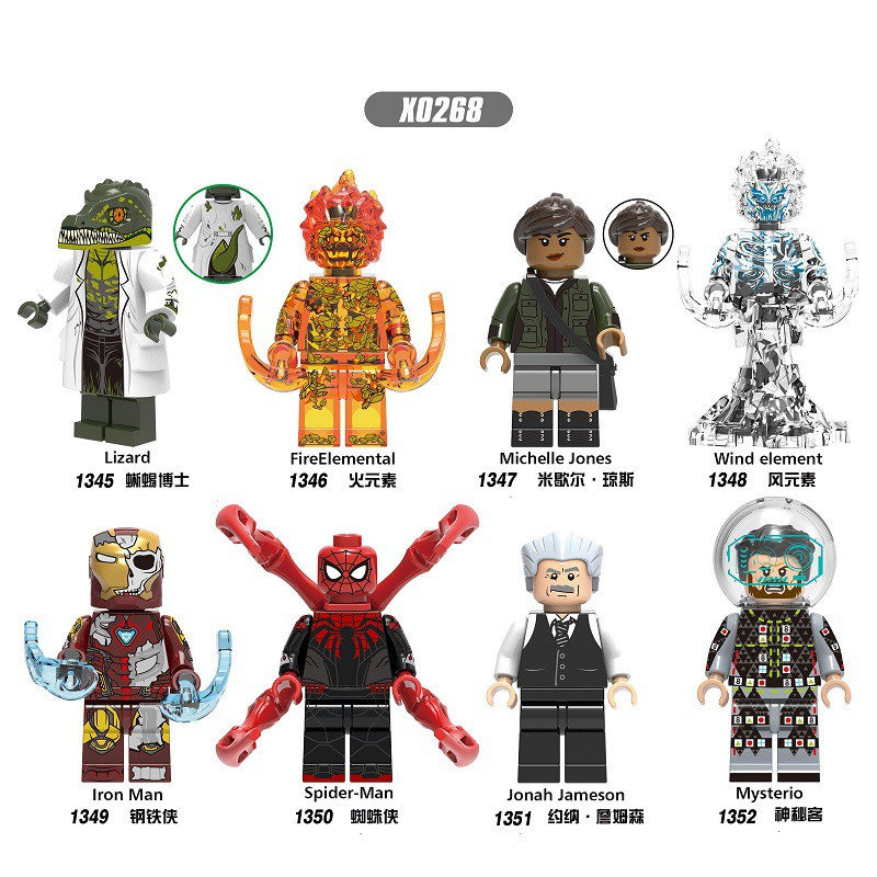 Iron Man Lizard Fire Elemental Spider-Man Mysterio for Lego Ninja Minifigures