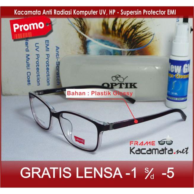 Frame Kacamata Minus - Lensa Baca Minus Antiradiasi - Kacamata Korea Bulat Pria  Wanita Cewek  64407823da