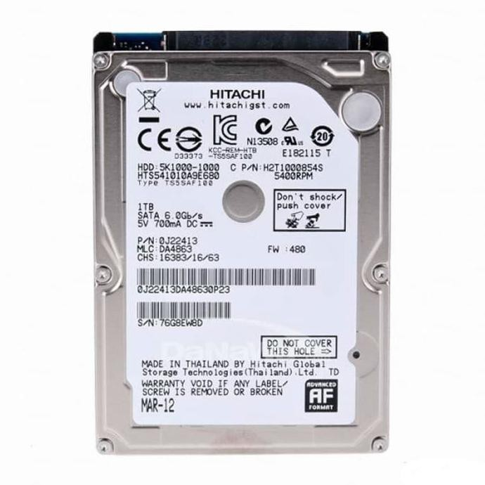 "Hitachi 1TB 2.5"" 7200 Rpm 