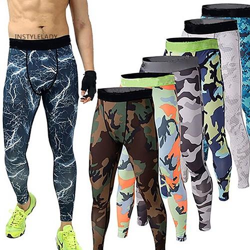 ஐwe Celana Panjang Legging Skinny Compression Motif Camo untuk Pria