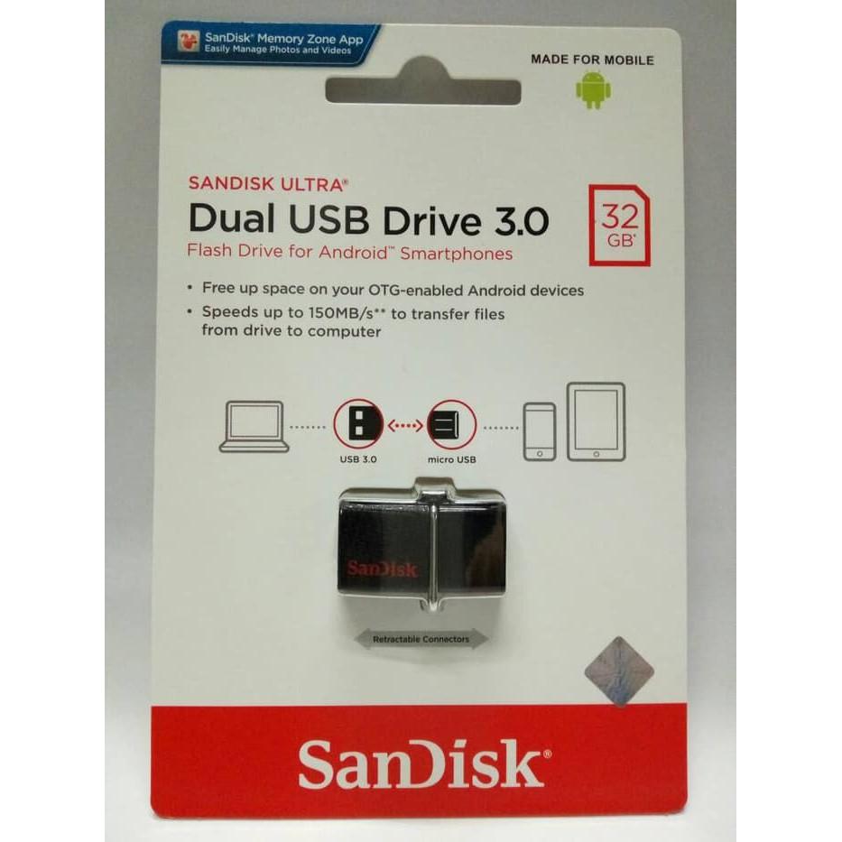 Sandisk Flashdisk Otg 32gb Dual Drive Usb 30 Shopee Indonesia Fd Micro