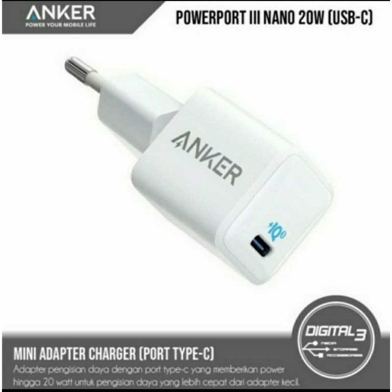 Anker Adaptor PowerPort III Nano-20W white
