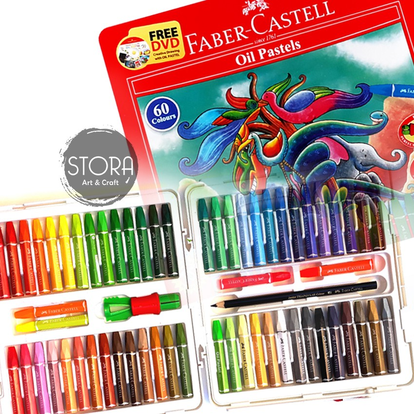 Faber Castell Hexagonal Oil Pastel Crayon 60 Colours Warna Shopee