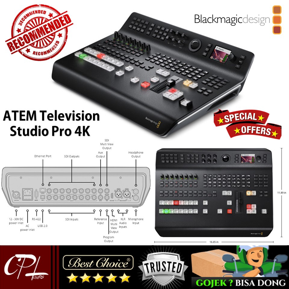 Blackmagic Design Atem Television Studio Pro 4k Live Production Switcher Shopee Indonesia