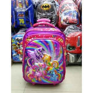 Tas Trolley Anak SD Import Little Pony Rainbow 5D Hologram Timbul 3KT