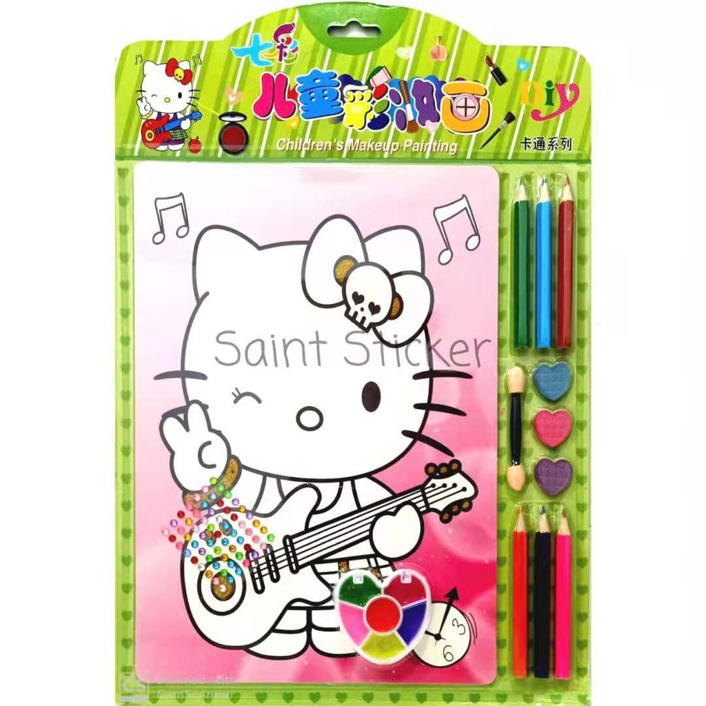 Drawing Canvas Kanvas Lukis Mewarnai Anak Karakter Kartun Hello Kitty