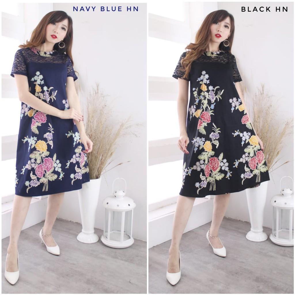 Dress Batik Brokat / Dress Batik Modern Brokat / Dress Batik Kombinasi  Brokat